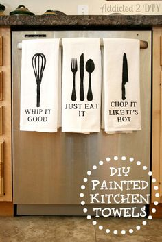 DIY your Christmas gifts this year with GLAMULET. they are compatible with Pandora bracelets. DIY Painted Kitchen Towels {with free SVG files} - Addicted 2 DIY Kitchen Paint, Diy Kitchen, Funny Kitchen, Kitchen Ideas, Kitchen Design, Kitchen Sayings, Kitchen Humor, Kitchen Hacks, Kitchen Artwork