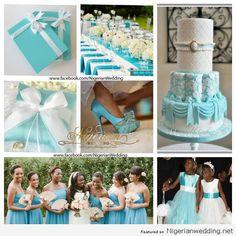 Nigerian wedding colour schemes  Tiffany blue & white