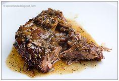 Slow Roasted Lamb; lamb; onion; garlic; rosemary; juniper berries; recipe; lamb recipes; easy; fast; healthy; Spicie Foodie; beef alternative; lamb shoulder; cordero asado; romero; recetas
