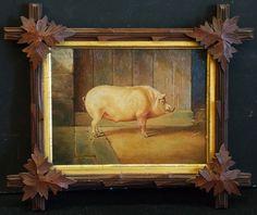 "Fine Antique Art  Oil Painting ""Pig Portrait"" Unsigned, with Decorative Frame"
