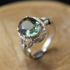 2 Carat Green Tourmaline Engagement Ring, Diamonds, 14K White Gold. $1,150.00, via Etsy.