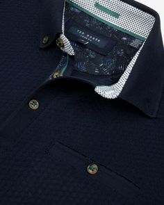 Geo textured polo shirt - Navy | Tops & T-shirts | Ted Baker UK