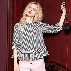 Elf Sack autumn girls stitching cotton blouse striped turn down collar long-sleeve female shirt | elfsack