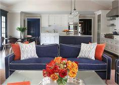 44 Stunning Navy And Orange Living Room Ideas
