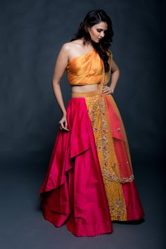 Traditional lehenga with a modern twist. Draped lehenga with exquisite handwork embroidery from AO by Anita Ojha