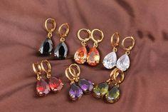 28mm 18K Gold Plated Fashion Beautiful Zircon Copper Wedding WaterDrop Earrings