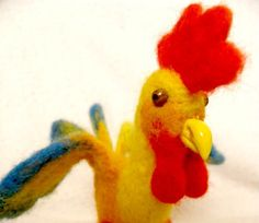 Easter Rooster  Felted Miniature Gift Collectors by crafts2love, $39.00