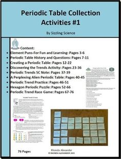 Chemistry periodic table trends guided inquiry lesson chemistry periodic table collection of activities urtaz Choice Image