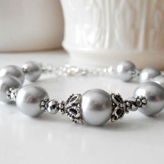 Gray Pearl Bracelet Grey Bridesmaid Jewelry Bead Bracelet Silver Pearl Bridesmaid Jewelry Sets Handmade Beaded Wedding Jewelry Guinevere on Etsy, $18.00