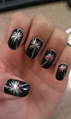 Fourth of July #nye #newyearsnails fireworks nail design ...love it BY Me :) Angela Kienzle