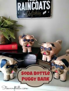 How to make a Plastic Soda Bottle Puggy Bank-StowandTellU banks bottle crafts Pop Bottle Crafts, Plastic Bottle Crafts, Plastic Bottles, Pet Pug, Pug Puppies, Pugs, Pug Dogs, Dog Crafts, Animal Crafts