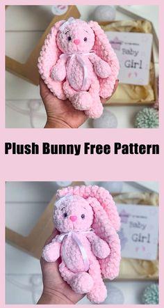 Crochet Rabbit Free Pattern, Easter Crochet Patterns, Crochet Amigurumi Free Patterns, Plush Pattern, Crochet Bear, Crochet For Kids, Crochet Dolls, Free Crochet, Octopus Crochet Pattern