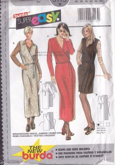 Sewing Pattern Burda 3113  Asymmetrical Wrap Dress Street or Evening Length Small to plus size  Miss Woman 10 12 14 16 18 20 10/20  FF UNCUT by LanetzLiving on Etsy Girl Tuxedo, Burda Sewing Patterns, Easy Wrap, Jumper Patterns, Wrap Around Dress, Size 10, Plus Size, Pinafore Dress, Wrap Dresses