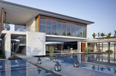 Lantern pool concrete pool house facade modern design ideas