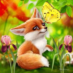 I love animals Baby Animals Pictures, Cute Puppy Pictures, Cute Animal Drawings Kawaii, Cute Drawings, Super Cute Animals, Cute Baby Animals, Fuchs Baby, Fox Drawing, Cartoon Sketches