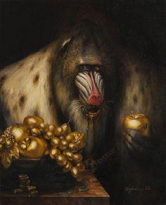 The Gold Merchant - Martin Wittfooth Martin Wittfooth, Blend Images, Monkey Art, School Of Visual Arts, Danse Macabre, Animal Magic, Surreal Art, Animal Paintings, Art Google