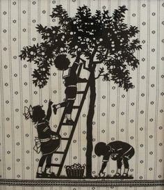 Children Picking Apples Charming Vintage Die Cut Silhouette Upcycled $25.00