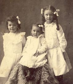 THREE SISTERS Dressed in Matching White Dresses by NiepceGallery