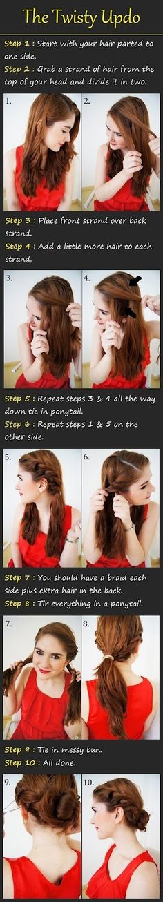 Easy updo. Last step would be nice to braid pony tail and twist and pin up in a bun then loosen up a little.