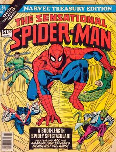 Gil Kane - Original and final cover art by Gil Kane (pencils) and Frank Giacoia (inks) from Marvel Treasury Edition published by Marvel Comics, Comics Spiderman, Marvel Comics Superheroes, Marvel Comic Books, Comic Book Characters, Comic Books Art, Spiderman Man, Hulk Comic, Vintage Comic Books, Vintage Comics