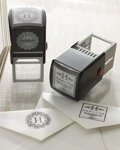 Add a personal touch to your envelopes with a personalized self-inking stamper - great for wedding invitations & xmas cards! http://rstyle.me/n/d9sfxn2bn