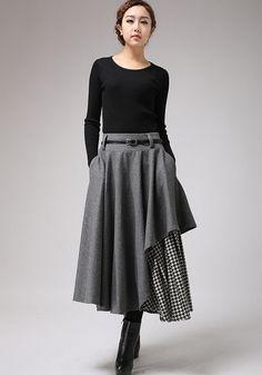 Jupe pied de poule mode hiver jupes de lhiver jupe grise