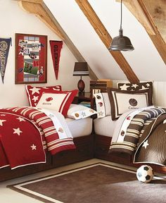 Love the arrangement of the beds in this picture.  May do this with the boys' new room.  Sports Bedroom | Pottery Barn Kids