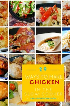 Check out these 29 Ways to make Chicken in the Slow Cooker! Best Slow Cooker, Slow Cooker Recipes, Crockpot Recipes, Chicken Recipes, Cooking Recipes, Frugal Meals, Easy Meals, Slow Cooker Chicken, Family Meals