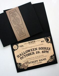 Ouija Inspired Spirit Board Invites (Digital Printable) Calling all spirits! Just in time for Halloween! Custom spirit board invitations for your next spooktacular bash or Halloween themed wedding. This listing is for PRINTABLE PDF file Halloween Tags, Happy Halloween, Soirée Halloween, Holidays Halloween, Halloween Themes, Halloween Decorations, Halloween Weddings, Modern Halloween, Halloween Parties