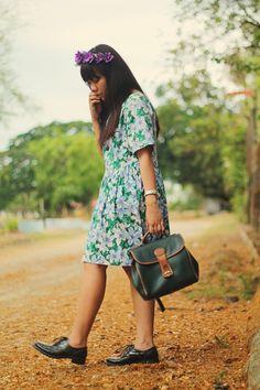 Green Floral Print Amethyst Drop Waist Floral Dress