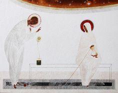 Annunciation, original print on natural canvas and stretcher of modern icon, made by Ivanka Demchuk Orthodox Icons, Annunciation, Original Prints, Byzantine Art, Modern Catholic, Catholic Art, Christian Art, Art Icon, Sacred Art