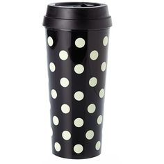 kate spade new york dot thermal travel mug (€17) ❤ liked on Polyvore featuring home, kitchen & dining, drinkware, food, drinks, cups, filler, food and drink, black and polka dot cups