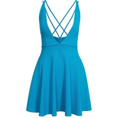 Oh My Love Plunge Strap Skater Dress ($31) ❤ liked on Polyvore featuring dresses, vestido, electric blue, party dresses, womens-fashion, royal blue cocktail dress, v neck dress, blue v neck dress, v neck cocktail dress and v-neck dresses