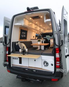 The Big Gigantic - Freedom Vans - Van conversion with standing dining table! Tiny House Movement // Tiny Living // Tiny House on Wheels // Van Conversion Kitchen // Van Life // Tiny Home Van Conversion Interior, Camper Van Conversion Diy, Sprinter Van Conversion, Van Interior, Interior Design, Van Conversion For Family, Van Conversion Kitchen, Ford Transit Conversion, Airstream Interior