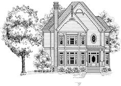 Three Bedroom Queen Anne (HWBDO64573) | Queen Anne House Plan from BuilderHousePlans.com