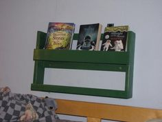 Top Bunk organizer - GREAT idea for my girl who always has books stuck in her top bunk!