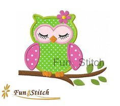 Girl sleeping owl applique machine embroidery design