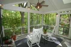 Rocking chairs in a screened in porch