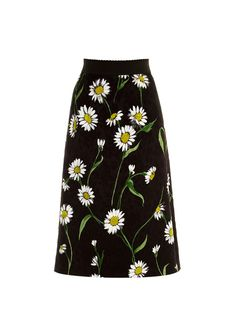 Daisy-print and rose-jacquard skirt by Dolce & Gabbana | Shop now at #MATCHESFASHION.COM
