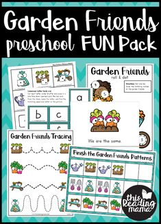 Garden Preschool Pack - This Reading Mama Phonics Activities, Color Activities, Hands On Activities, Kindergarten Activities, Preschool Garden, Preschool Math, Preschool Ideas, Preschool Printables, Preschool Worksheets