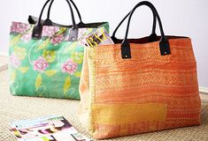 market totes made of kantha stitchery vintage quilts