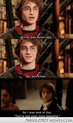 Daniel Radcliffe on Emma Watson in Harry Potter and the Goblet of Fire. Harry Potter World, Saga Harry Potter, Harry Potter Jokes, Harry And Hermione, Ron Weasley, Weasley Twins, Daniel Radcliffe, Yer A Wizard Harry, Youtuber