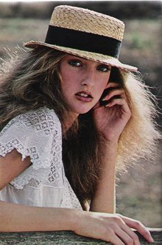 """February 1978. """"California Girl. Her fashion style: dressing in antique clothes."""""""