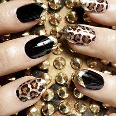 Gold, black, leopard nails