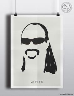 Stevie Wonder minimalist hair poster by Posteritty.com minimal musician art