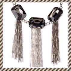 "▪️Large Gems & Tassels Gunmetal Necklace GORGEOUS GUNMETAL GEMS & TASSELS NECKLACE                                                              faceted glass crystals - really striking              lead & nickel free                                               gems have a high luster & measure 7/8"" across                                                                       tassels in gunmetal compliment the smoky, dark crystals…"