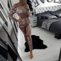 73d5f1859d Velvet Off Shoulder Long Sleeve Elastic Waist Split Knee Long Jumpsuit
