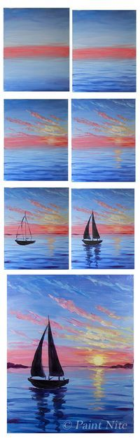Moment on the Ocean - Easy Brushes - Big flat, Medium and small rounds Colors: Ultra. Blue, Red, Yellow, Black and white