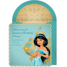 Princess Jasmine free birthday party invitation - perfect for inviting guests to an Aladdin birthday party or Arabian Nights themed party.