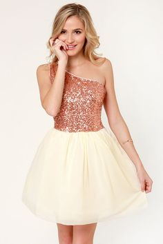 Fancy Rose Gold Dress - Sequin Dress - One Shoulder Dress - Omg... so adorable.
